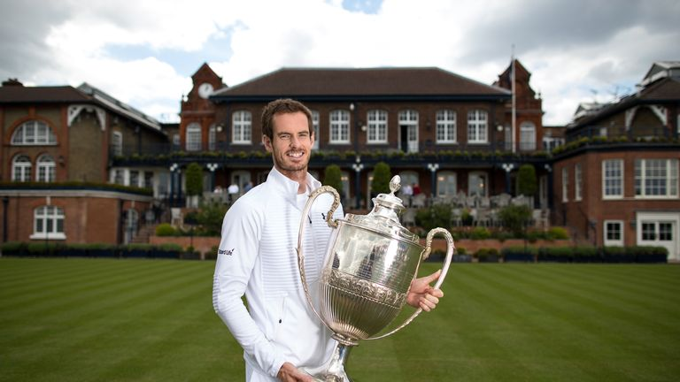 Andy Murray's bid to lift a third straight Aegon Championships trophy was ended by Jordan Thompson