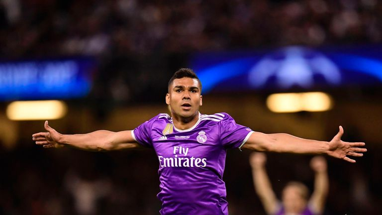 Casemiro celebrates after restoring Real Madrid's lead