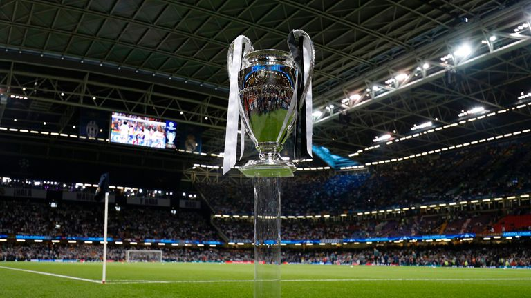 The UEFA Champions League trophy pre-match