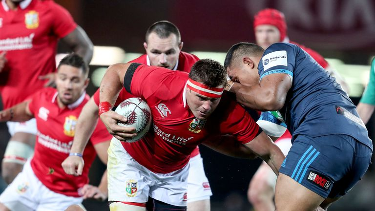 Stander carries the ball up for the Lions