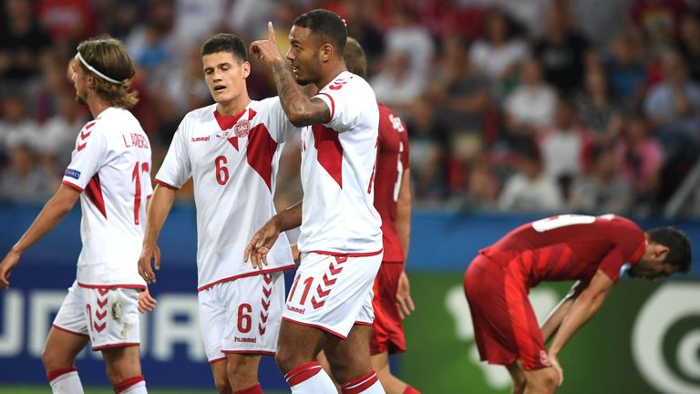 Kenneth Zohore (centre) scored twice in Denmark's 4-2 win over the Czech Republic