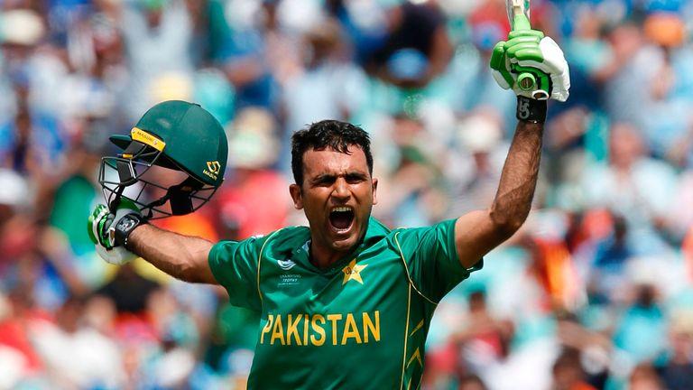 Pakistan's Fakhar Zaman celebrates wildly after reaching his maiden ODI century