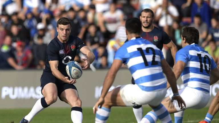 England's fly-half George Ford in action against Argentina