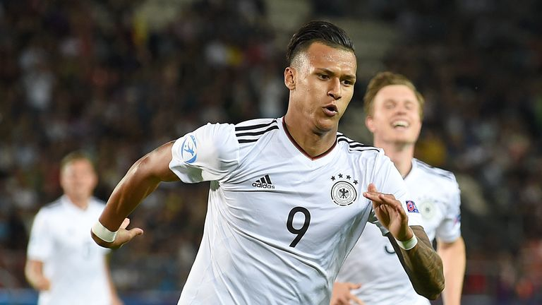 Germany forward Davie Selke celebrates scoring