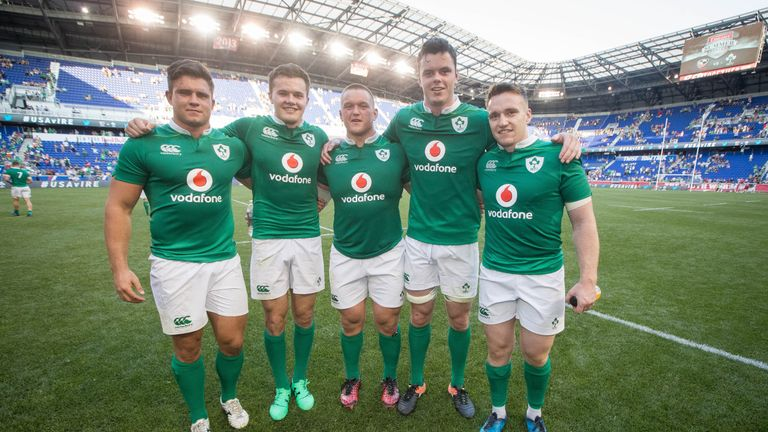 Schmdit handed out five debuts in New Jersey to Dave Heffernan, Jacob Stockdale, Andrew Porter, James Ryan and Rory Scannell (left to right)