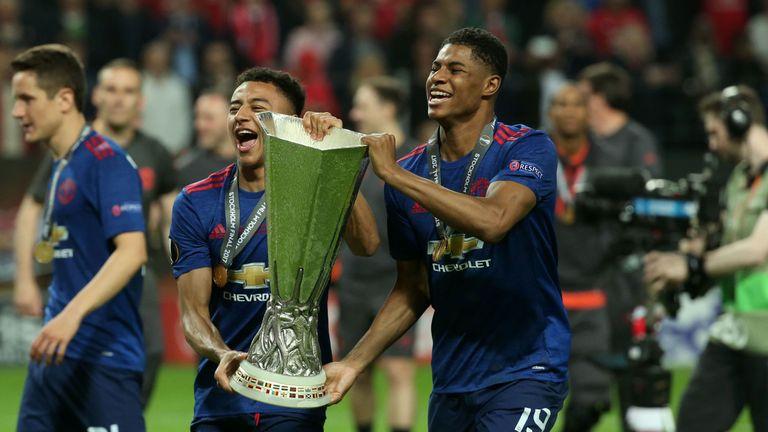 Jesse Lingard (L) and Marcus Rashford celebrate Manchester United's Europa League win