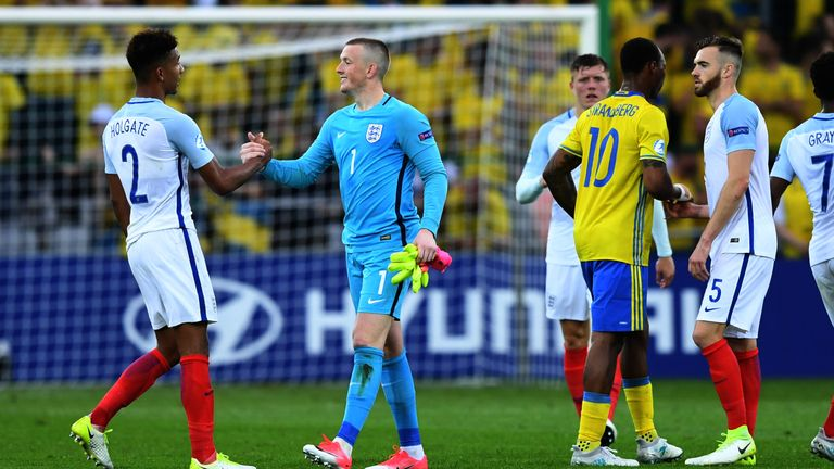 Jordan Pickford saved a penalty for England's U21s on Friday