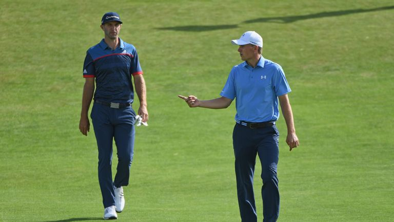 Spieth (right) partnered compatriot Dustin Johnson during the first two rounds