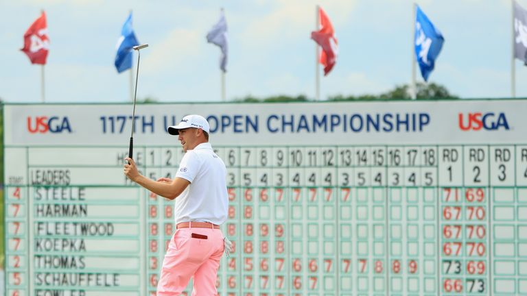 Spieth's close friend Justin Thomas carded a record breaking 63 on Saturday to propel himself up the leaderboard