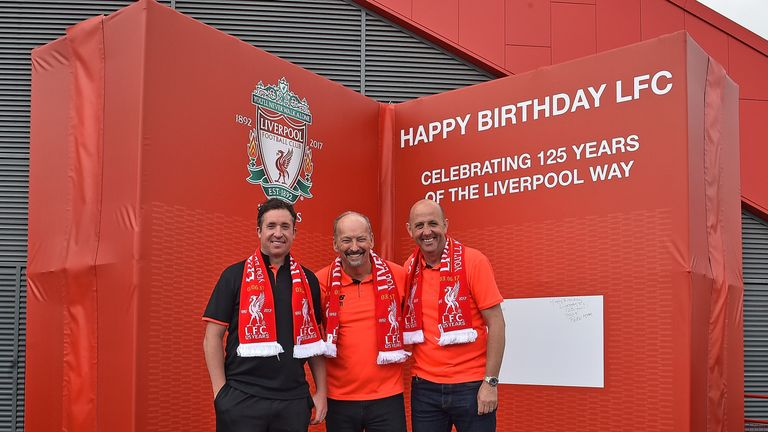 (L-R) Robbie Fowler, Peter Moore and Garry McAllister unveil Liverpool's 125th birthday card at Anfield. Picture courtesy LFC