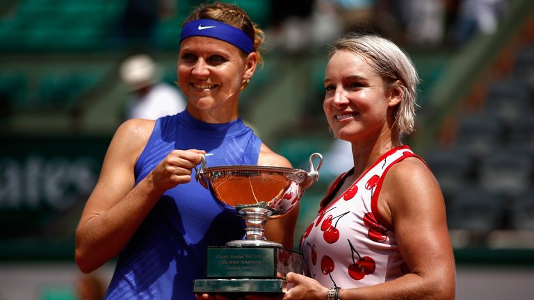 Lucie Safarova and Bethanie Mattek-Sands (right) celebrate French Open doubles glory