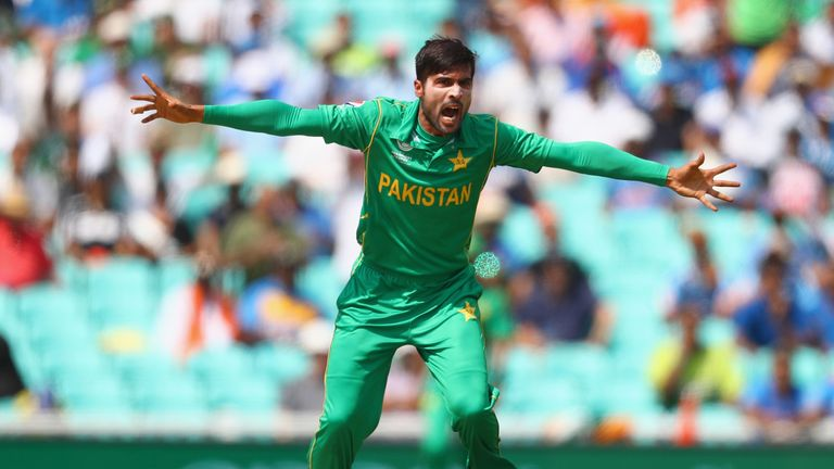 Amir appeals successfully for the wicket of Rohit Sharma