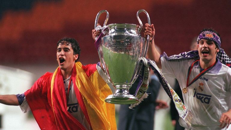 Raul Gonzalez (left) and Fernando Morientes celebrate Real Madrid's 1998 Champions League final win over Juventus