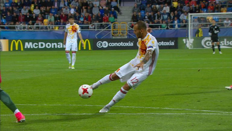 Sandro fires in a shot from the edge of the box