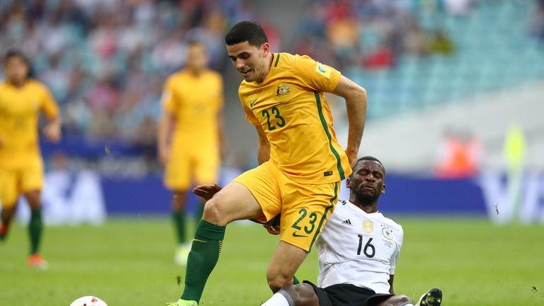 Tom Rogic (left) scored for Australia along with Tomi Juric