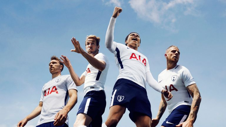 Spurs players (left to right) Christian Eriksen, Harry Kane, Dele Alli and Toby Alderweireld model their new home kit  (Credit: Nike)