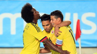 Colombia's forward Radamel Falcao (C) scored against Brazil