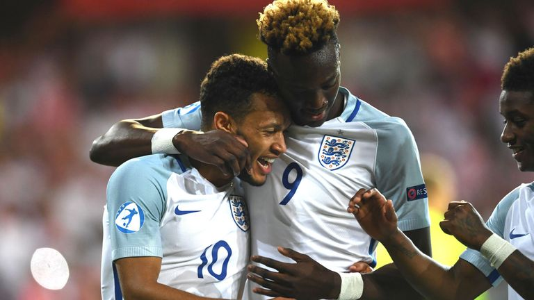 England's Lewis Baker celebrates with Tammy Abraham after scoring against Poland in the European Under-21 Championships.