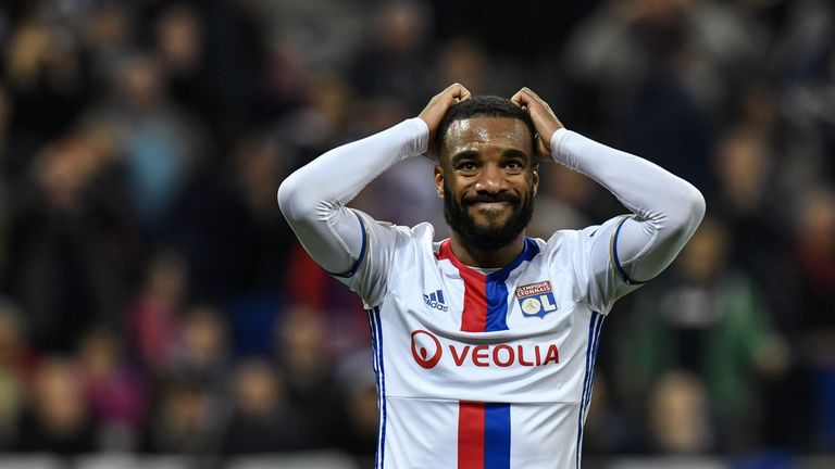 Lyon's French forward Alexandre Lacazette reacts during the UEFA Europa League semi-final football match between Olympique Lyonnais (OL) and Ajax Amsterdam