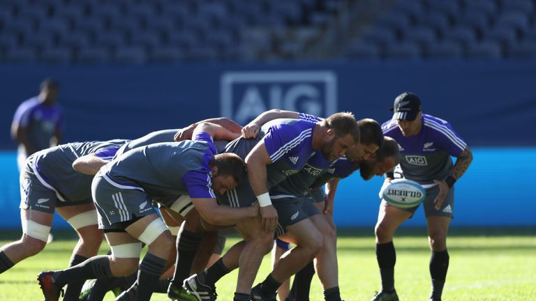 CHICAGO, IL - NOVEMBER 04:  The New Zealand All Blacks practice the scrum during the All Blacks captains run at Soldier Field on November 4, 2016 in Chicag
