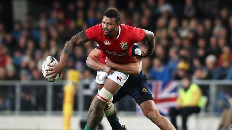 DUNEDIN, NEW ZEALAND - JUNE 13:  Courtney Lawes of the Lions offloads in the tackle during the 2017 British & Irish Lions tour match between the Highlander
