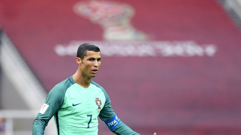 Portugal's forward Cristiano Ronaldo reacts during the 2017 Confederations Cup group A football match against Portugal