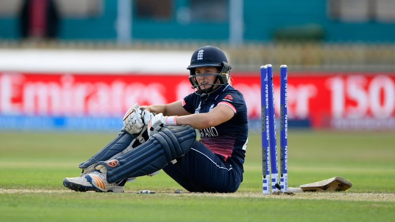 DERBY, ENGLAND - JUNE 24:  England batsman Katherine Brunt reacts after being run out during the ICC Women's World Cup 2017 match between England and India