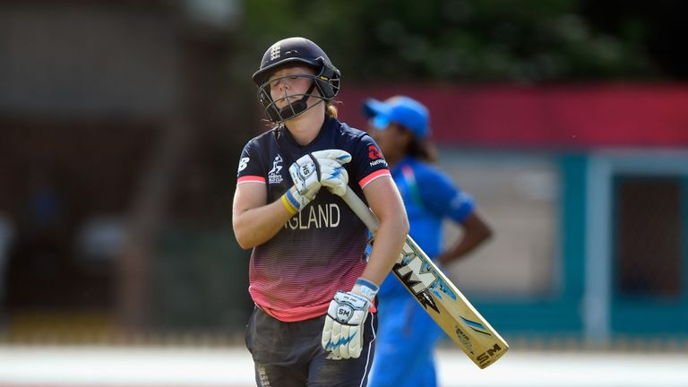 DERBY, ENGLAND - JUNE 24:  England batsman Heather Knight reacts after being  run out during the ICC Women's World Cup 2017 match between England and India