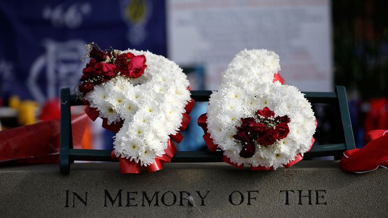 Tributes are placed at Sheffield Wednesday's Hillsborough stadium on April 26, 2016