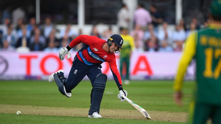 England batsman Jason Roy stops the ball from hitting the stumps whilst going back to his crease and is given out obstructed the field