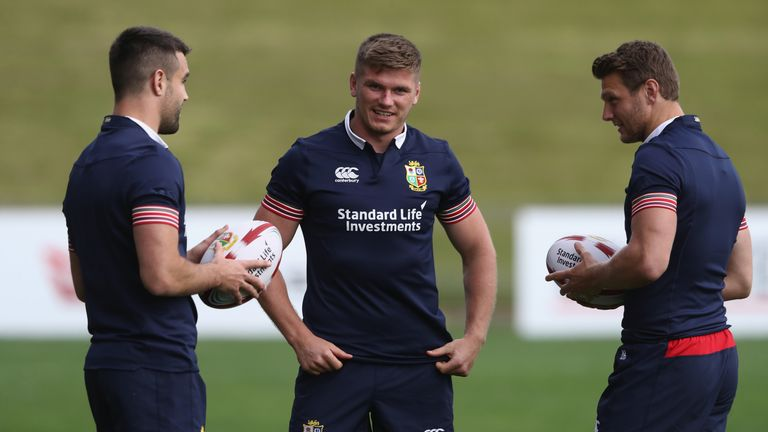 AUCKLAND, NEW ZEALAND - JUNE 01 2017:  (L-R) Conor Murray, Owen Farrell at Lions training