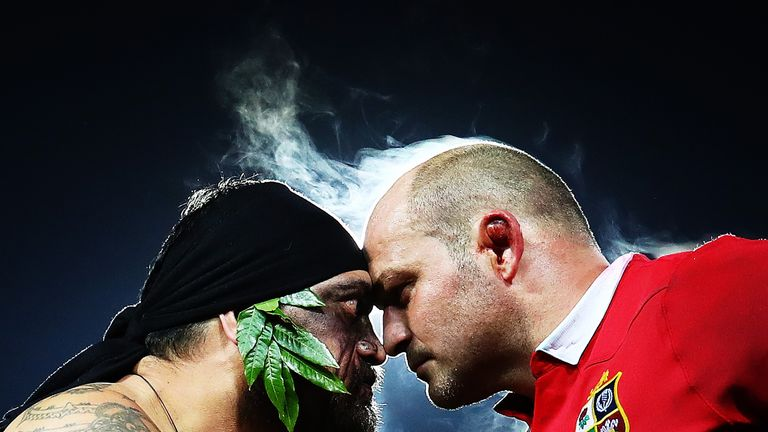 A Maori warrior presents the match Taiaha to Rory Best after the Lions' win over the Chiefs