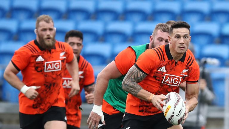 Sonny Bill Williams of the All Blacks during a New Zealand All Blacks training session at Trusts Stadium on June 22, 2017
