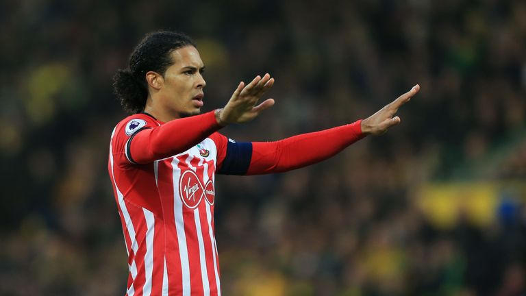 NORWICH, ENGLAND - JANUARY 07:  Virgil van Dijk of Southampton reacts during the Emirates FA Cup Third Round match between Norwich City and Southampton at