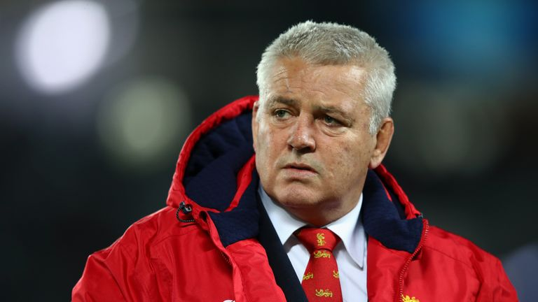 AUCKLAND, NEW ZEALAND - JUNE 24:  Warren Gatland the head coach of the Lions looks on as his team warm up prior to kickoff during the first test match betw