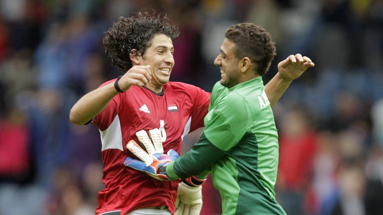 Egypt's Ahmed Hegazi (left) attracted West Brom's interest at the Africa Cup of Nations