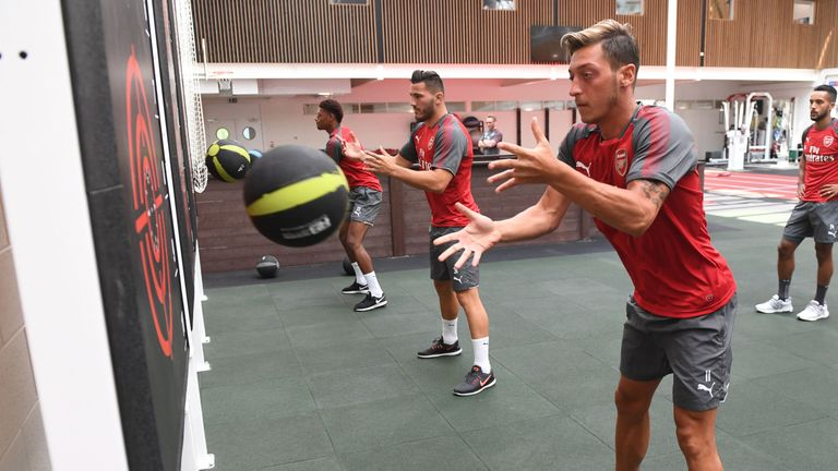 Arsenal's players have been working hard in the gym ahead of the new season