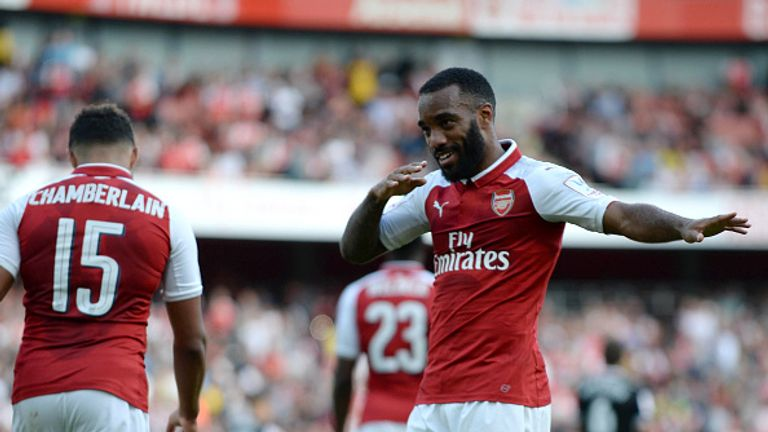 Arsenal's French striker Alexandre Lacazette celebrates his first goal at the Emirates.