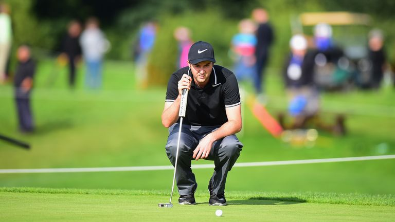 Ashley Chesters takes lead as European Open play suspended