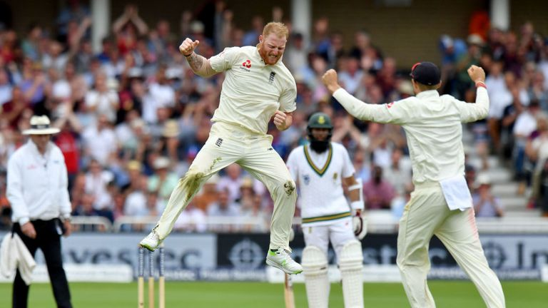 Ben Stokes celebrates the wicket of Dean Elgar