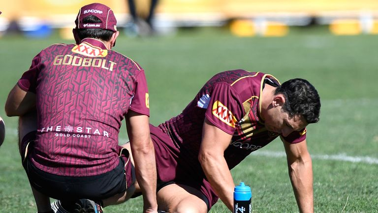 Slater went down injured during a Queensland Maroons State of Origin training session