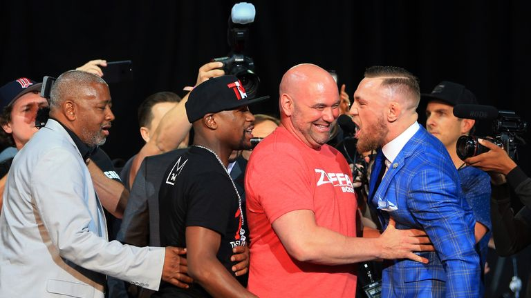 UFC President Dana White steps in as Floyd Mayweather Jr. and Conor McGregor face off