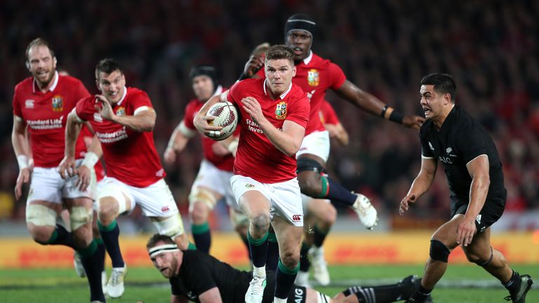 Owen Farrell on the attack for the British and Irish Lions