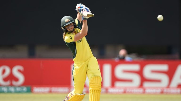 Ellyse Perry drives during Australia's victory over Pakistan