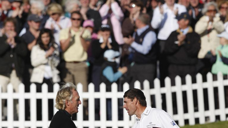 Norman congratulates Padraig Harrington after his victory in The Open at Royal Birkdale in 2008