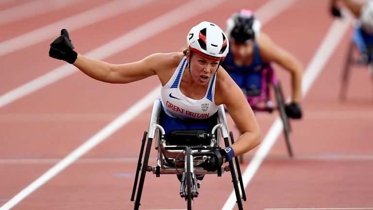 Hannah Cockroft won the Women's T34 100m, 400m and 800m - the same events she won at Paralympic level in Rio last summer.
