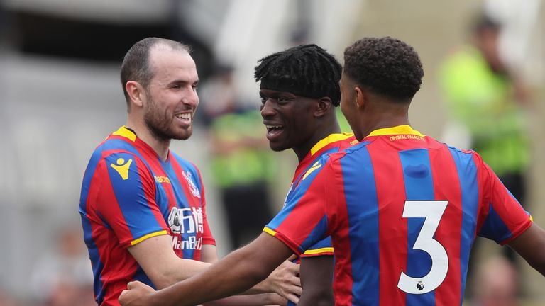 Jordan Mutch (left) of Crystal Palace celebrates scoring his second during a pre-season win over Maidstone