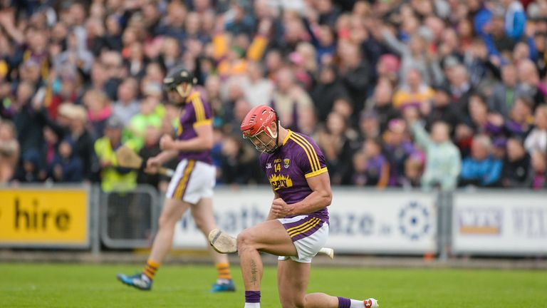 Lee Chin of Wexford celebrates near the end of the Leinster GAA Hurling Senior Championship Semi-Final match between Wexford and Kilkenny