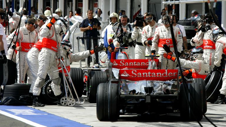 The plagued pit-stop: Alonso held up Hamilton for 10 seconds, stopping his team-mate from completing his final low-fuel lap in Q3 at the Hungaroring