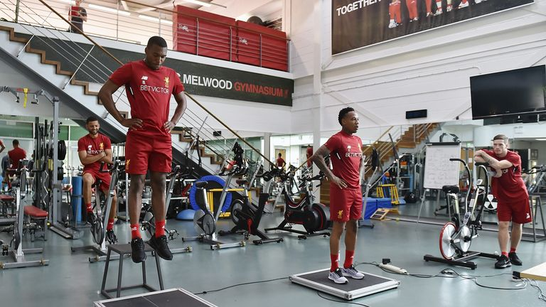 Liverpool players perform pre-season fitness tests